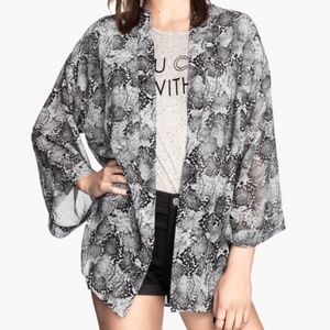 Divided Snakeskin Kimono with Tie Belt